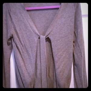 H&M heather gray front tie sweater